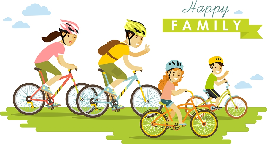 Happy family riding bikes
