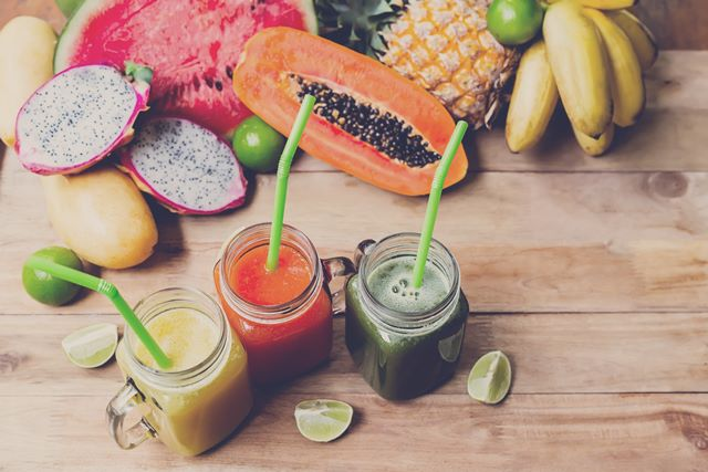 Fresh Juices Smoothie with tropical Fruits