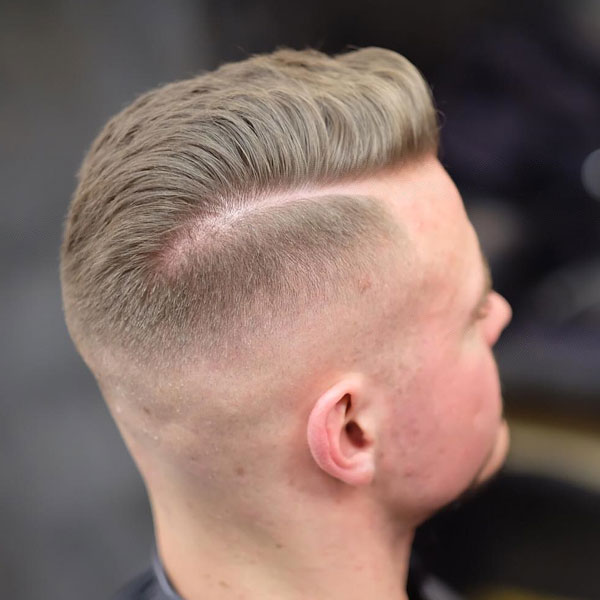 High Fade with Hard Side Part