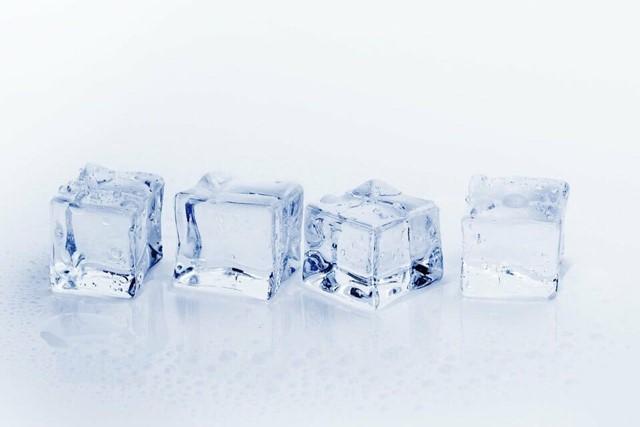 three cubes of ice